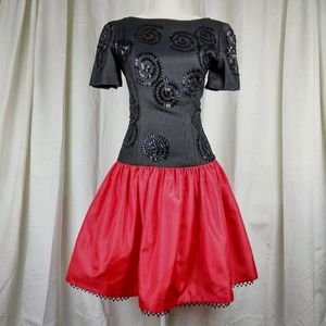 Vintage Bill Blass Evening Black Red Party Dress